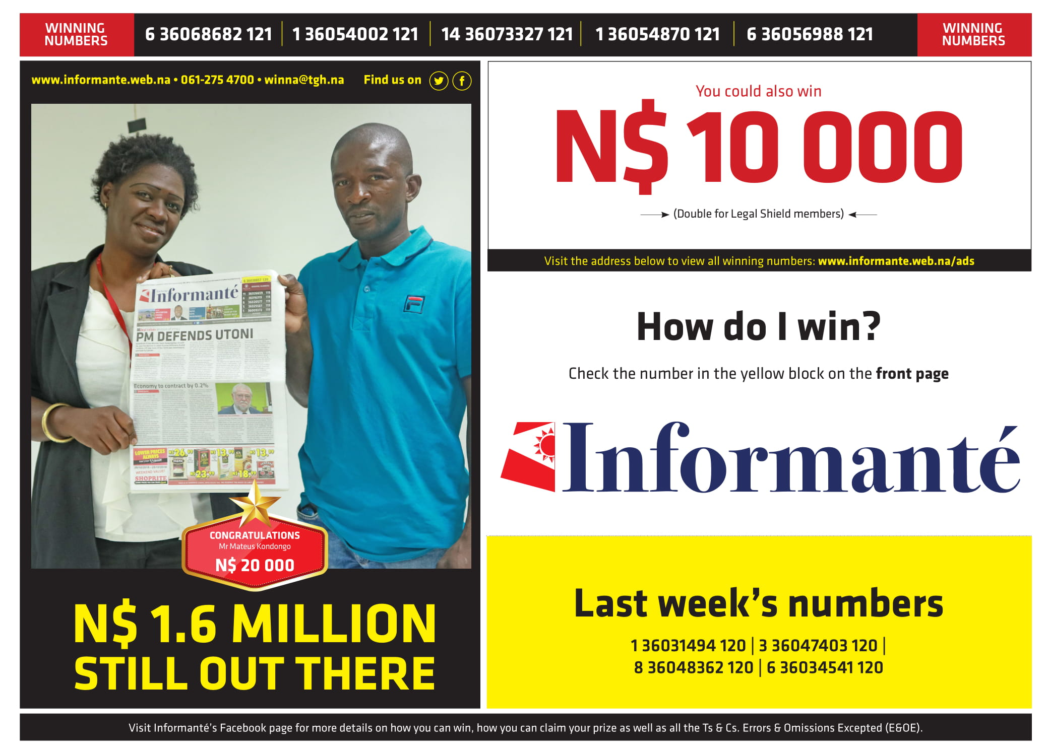 Informante Winning Numbers